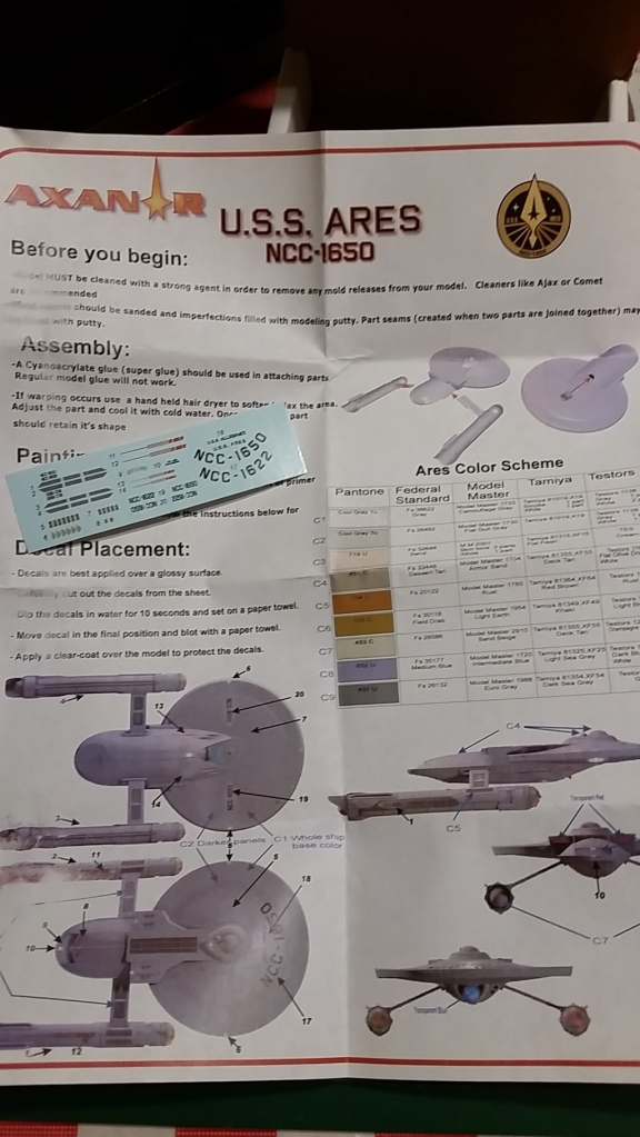 Axanar 2500 Scale Ares Instructions